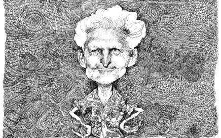 Potlood tekening van een oude man