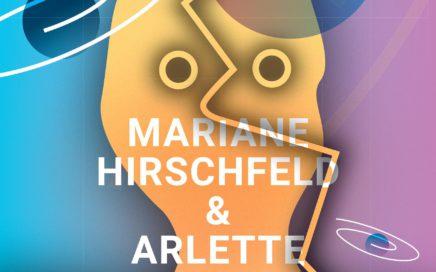 Flyer voor de Langhuis sessies muziek en poëzie route februari 2017 van Mariane Hirschfeld en Arlette Ruelens