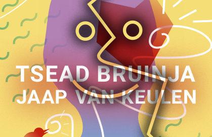 Flyer voor de Langhuis sessies muziek en poëzie route februari 2017 van Tsead Bruinja en Jaap van Keulen