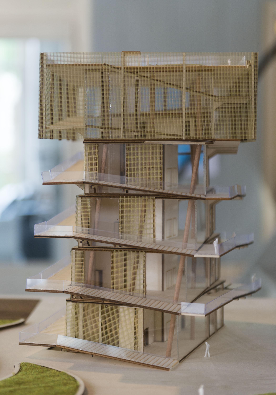 Model van een gebouw gemaakt door Ruben Sanderman en Alex van Eekelen van Chr. Hogeschool Windesheim