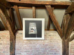 Titel van expositie Henk Heideveld: God's First Name Is Art. In Kunstruimte het Langhuis in Zwolle.